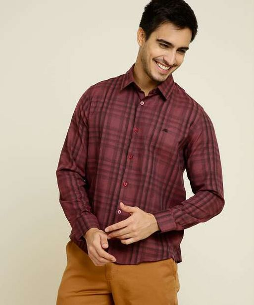 Oferta de Camisa Masculina Estampa Xadrez Manga Longa por R$65,99