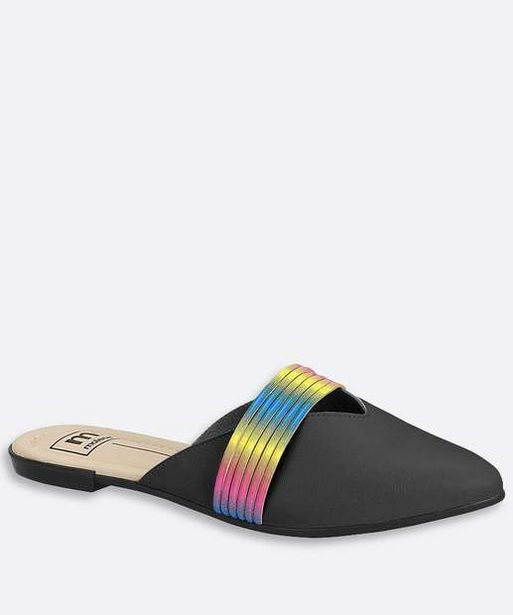 Oferta de Mule Feminino Bico Fino Tira Colorida Moleca por R$26,99