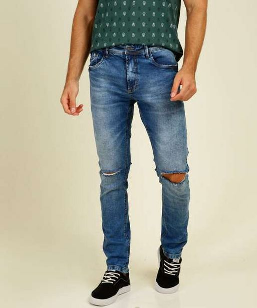 Oferta de Calça Masculina Jeans Destroyed Skinny MR por R$49,99