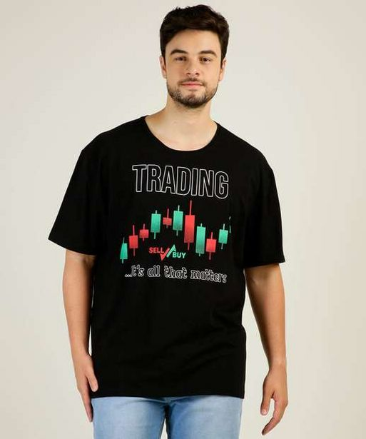 Oferta de Camiseta Masculina Estampa Frontal Plus Size por R$19,99