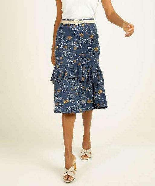 Oferta de Saia Midi Feminina Estampa Floral Babado Marisa por R$23,99
