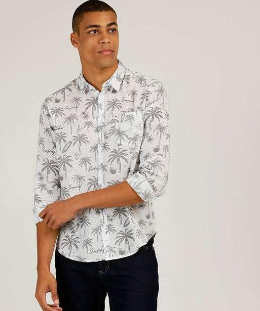 Oferta de Camisa Masculina Estampa Coqueiros Manga Longa MR por R$62,99