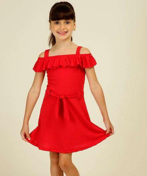 Oferta de Vestido Infantil Open Shoulder Alças Finas Tam 4 a 10 por R$21,99