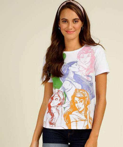 Oferta de Blusa Feminina Estampa Princesas Manga Curta Disney por R$14,99