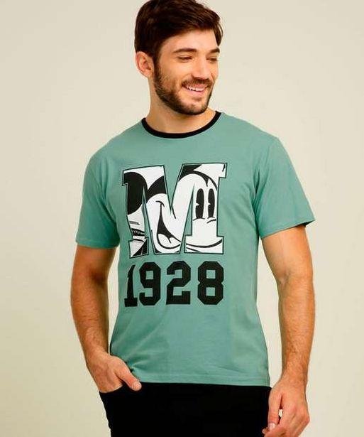 Oferta de Camiseta Masculina Estampa Mickey Manga Curta Disney por R$27,99