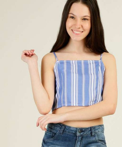 Oferta de Blusa Juvenil Cropped Listrada Alças Finas Marisa Tam 10 ao 16 por R$23,99