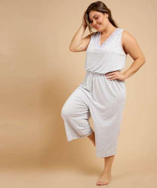 Oferta de Pijama Plus Size Macacão Feminino Recorte Renda Marisa por R$47,99
