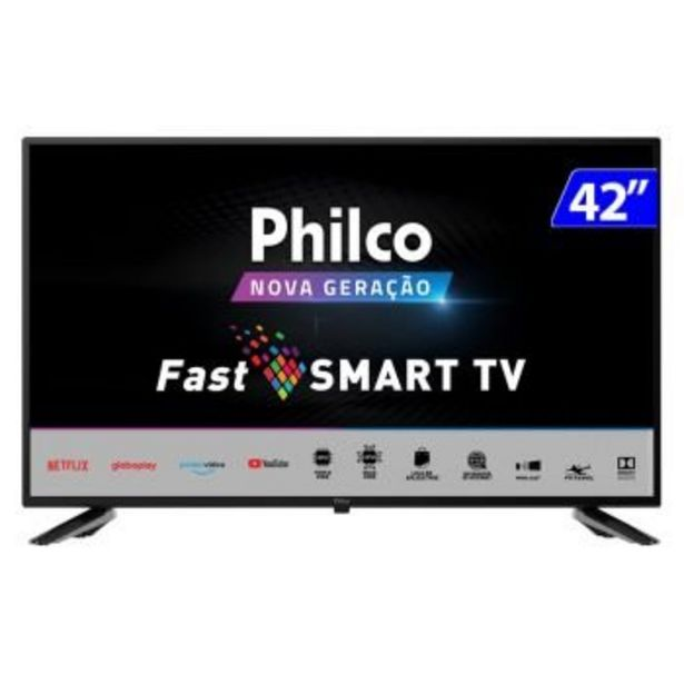 "Oferta de Smart TV LED 42"" Full HD Philco PTV42G70N5CF com Processador Quad Core, GPU Triple Core, Dolby Audio, Mídia Cast, Wi-Fi, HDMI e USB por R$1969"