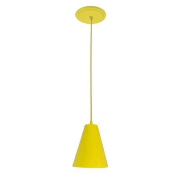 Oferta de -Pendente Loft Cone Pequeno Amarelo Dital por R$71,9