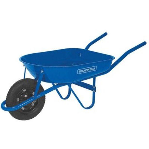 Oferta de Carrinho de mão com caçamba metálica rasa 50L azul Tramontina por R$229,9