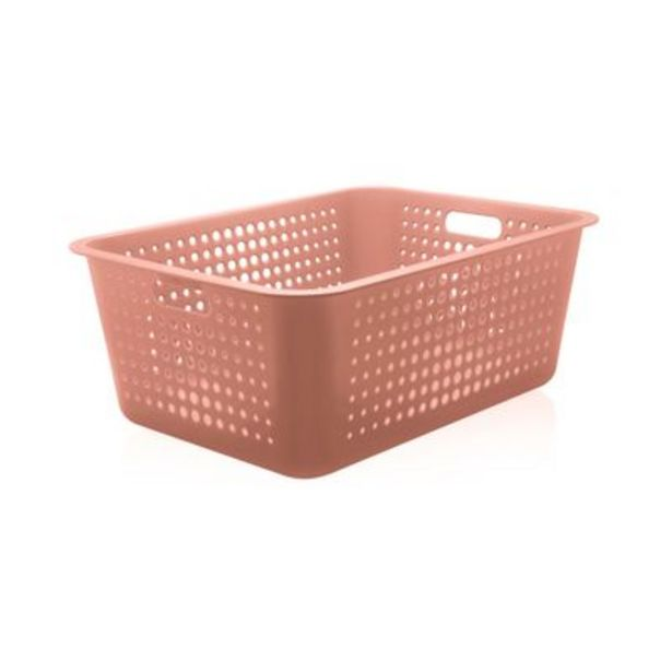 Oferta de Cesta Organizadora Plástico 40L Ou Terracota por R$60,9