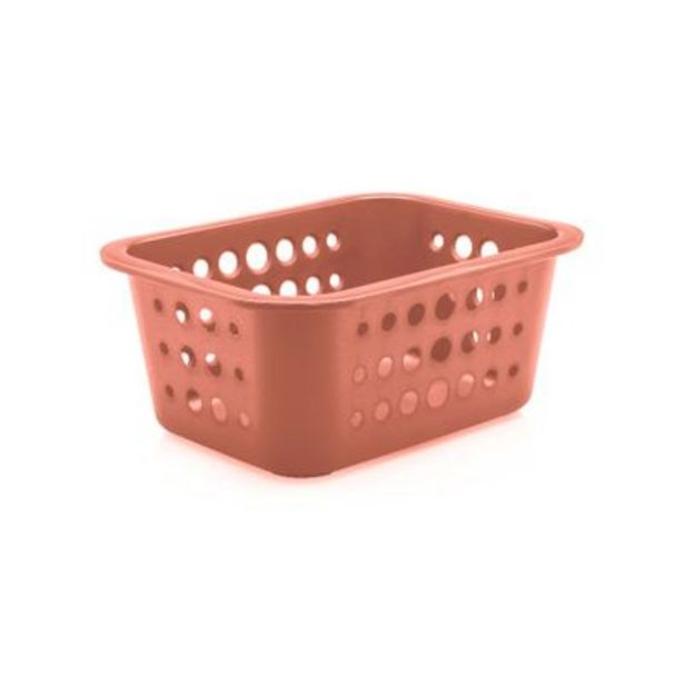 Oferta de Cesta Organizadora Ou 1,5L Plástico Terracota por R$9,5