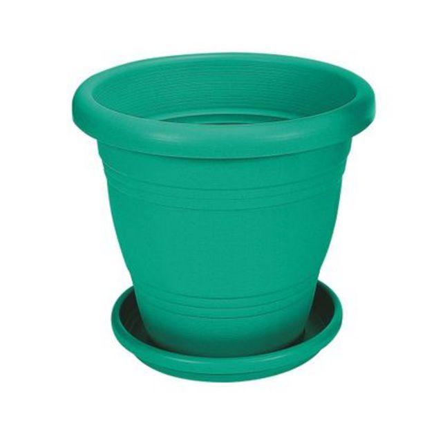 Oferta de Vaso Redondo Sanremo Plástico 28 CM Verde por R$15,9