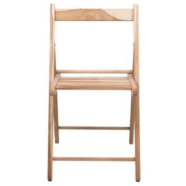 Oferta de Cadeira Dobrável Tramontina Lille Teca Madeira Natural por R$74,9