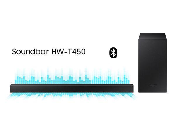 Oferta de Soundbar Samsung HW-T450, com 2.1 canais, potência de 200W, Bluetooth e Subwoofer sem fio por R$1199