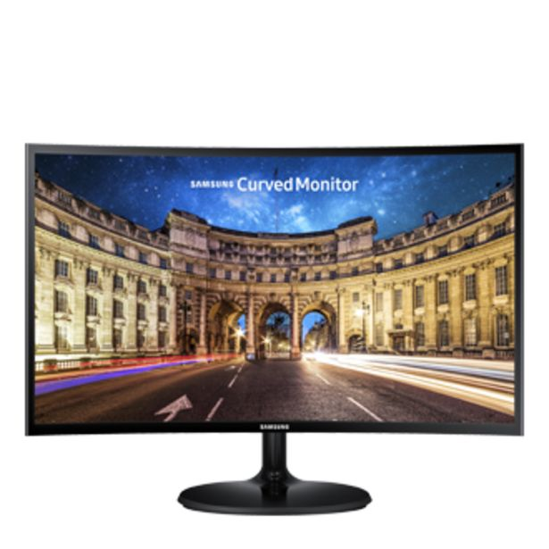 "Oferta de Monitor Curvo Samsung 24"" FHD, HDMI, VGA, Freesync, Preto, Série CF390 por R$1143"