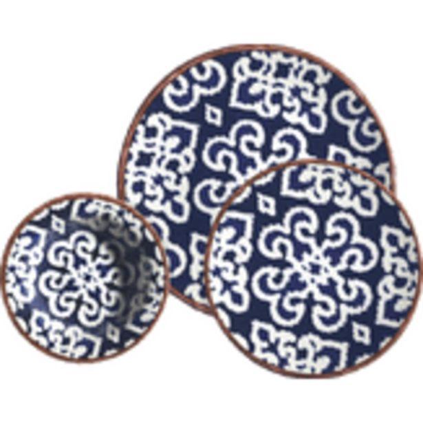 Oferta de Aparelho de Jantar em Porcelana Decorado Azul Kuthaya Caixa 18 Unidades por R$299,99