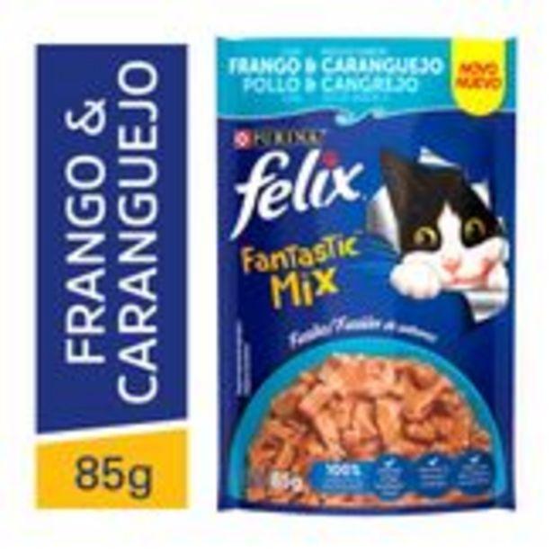Oferta de Alimento para Gatos Frango & Caranguejo Fantastic Mix Felix Purina Sachê 85g Novo por R$35,99