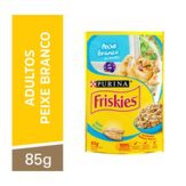 Oferta de Alimento para Gatos Adultos Peixe Branco ao Molho Friskies Purina Sachê 85g por R$29,59