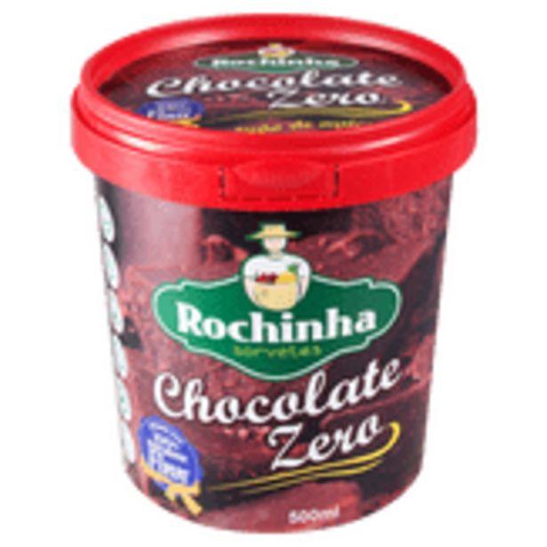 Oferta de Sorvete de Chocolate Zero Açúcar Rochinha Sorvetes Pote 500ml por R$32,98