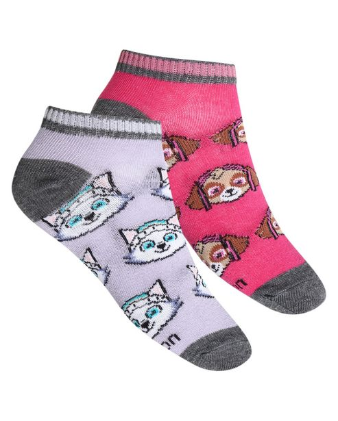 Oferta de Kit Meia Infantil 2 Pares Patrulha Canina Lilás/Pink Riachuelo por R$15,9