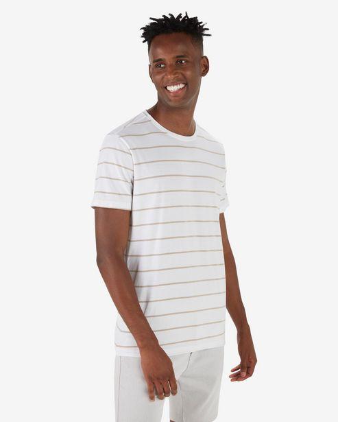 Oferta de Camiseta Masculina Básica Listrada Branco por R$19,9