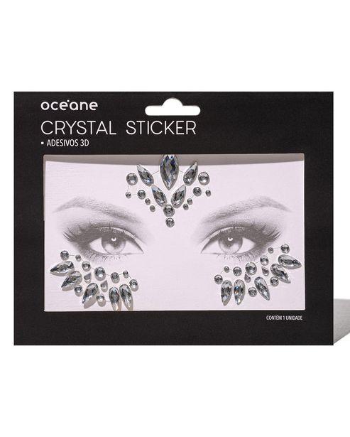 Oferta de Adesivo Facial Océane Crystal Sticker 3D Prateado por R$4,9