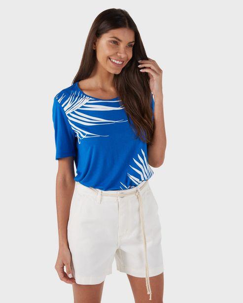 Oferta de Blusa Feminina Folhagem Azul AK by Riachuelo por R$15,9