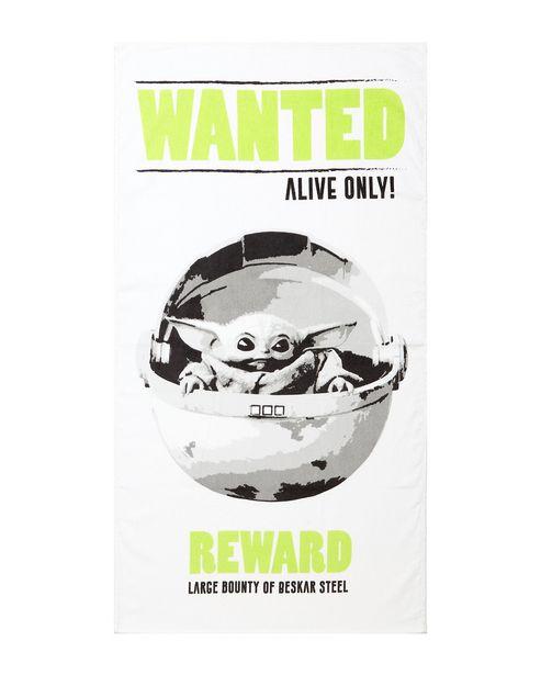 Oferta de Toalha de Praia Baby Yoda Wanted 100% Algodão Branco 130x70cm por R$15,9