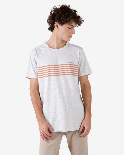 Oferta de Camiseta Manga Curta Mescla Listras Surf - Cinza Mescla por R$15,9