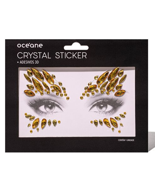 Oferta de Adesivo Facial Océane Crystal Sticker 3D Dourado por R$4,9
