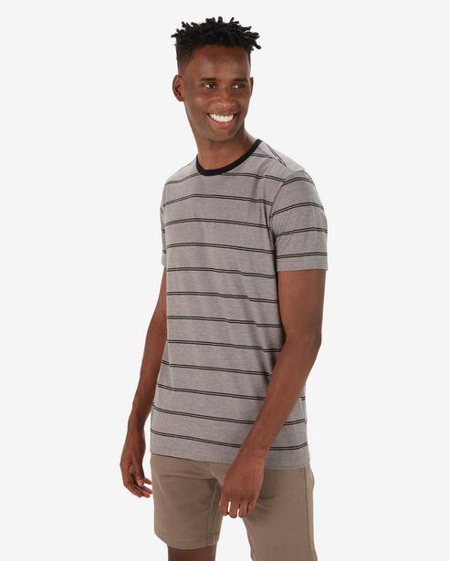 Oferta de Camiseta Masculina Listrada Básica Cinza por R$19,9