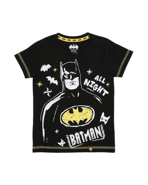 Oferta de Camiseta Infantil Malha Batman Preto Tam 1 a 4 por R$15,9