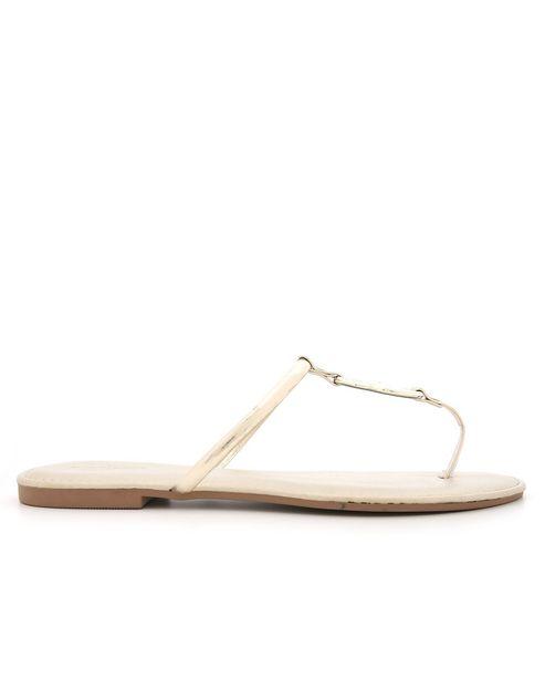 Oferta de Sandália Rasteira Argolas Metalizado RCHLO Shoes por R$12,9