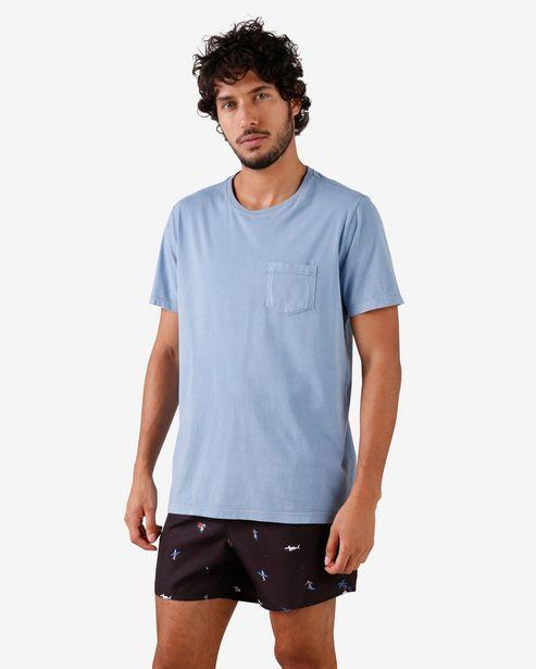 Oferta de Camiseta Manga Curta Bolso - Azul por R$19,9