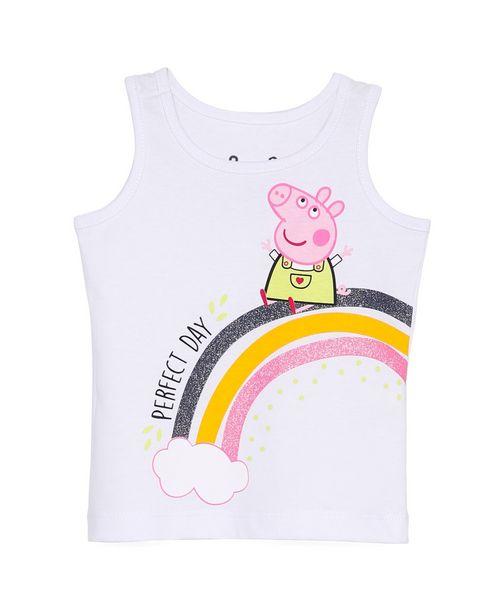 Oferta de Regata Infantil Peppa Pig Branco Tam 1 a 6 por R$15,9
