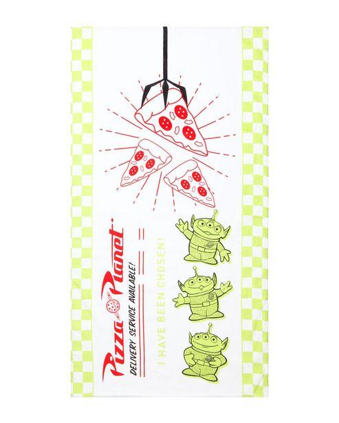 Oferta de Toalha de Praia Pizza Planet Toy Story 100% Algodão Branco 130x70cm por R$15,9
