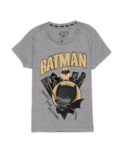 Oferta de Camiseta Infantil Manga Curta Batman Cinza Mescla Tam 1 a 4 por R$15,9