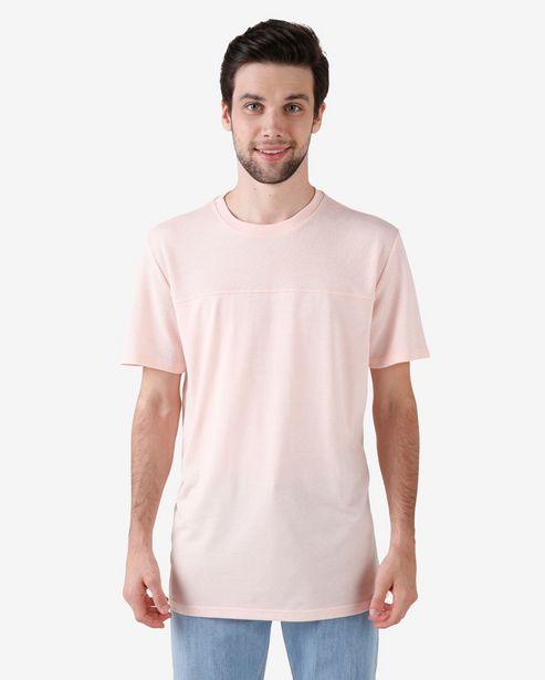 Oferta de Camiseta Masculina Manga Curta Texturizada Rosa Pêssego por R$15,9