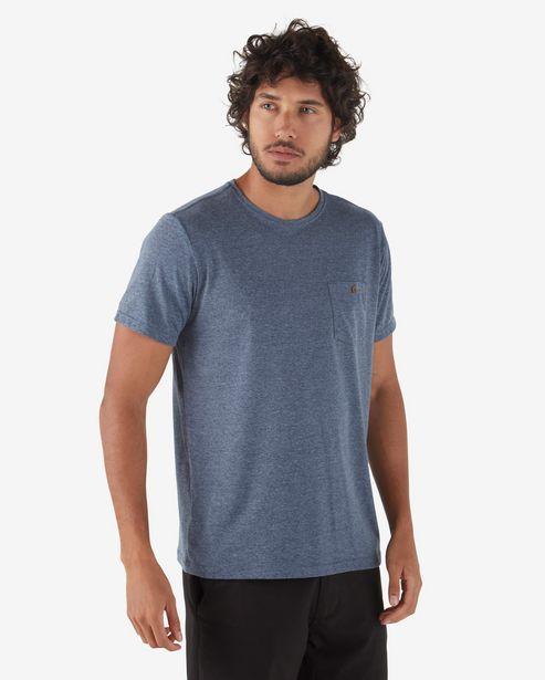 Oferta de Camiseta Básica Bolso - Azul Acinzentado por R$15,9