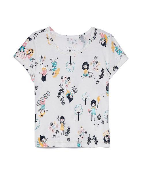 Oferta de Camiseta Manga Curta Desenhos - Branco por R$15,9