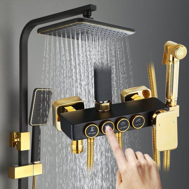 Oferta de Yujie conjunto de chuveiro termostático preto por R$570,79