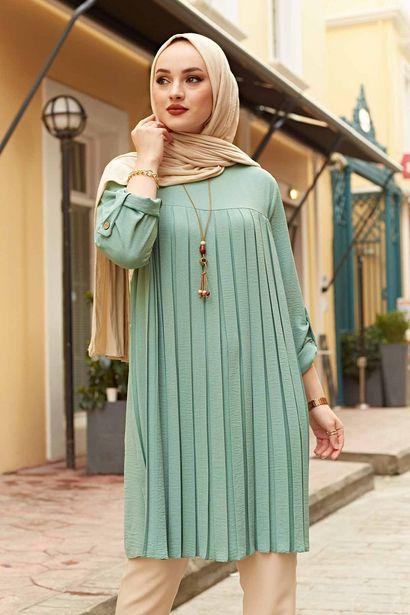 Oferta de Mulher muçulmana plissado túnica manga longa muçulmano topos mulheres abaya dubai blusa do vintage xadrez primavera outono quente camisa roupas ladie por R$39,52