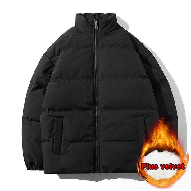 Oferta de Puffer jaqueta de inverno dos homens engrossar quente algodão acolchoado gola cor pura jaquetas e casacos masculinos roupas casuais por R$130,96