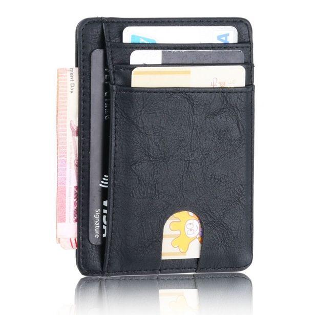 Oferta de Carteira de couro de bloqueio rfid fino titular do cartão de identificação de crédito bolsa de dinheiro para homens por R$27,43