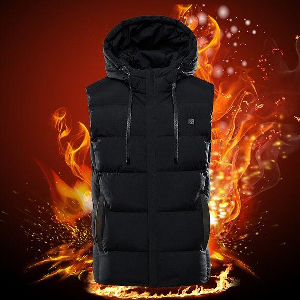 Oferta de 7 zonas de colete aquecido elétrico jaquetas esportivas masculinas casaco aquecido grafeno calor casaco aquecimento usb jaqueta para acampamento por R$165,79