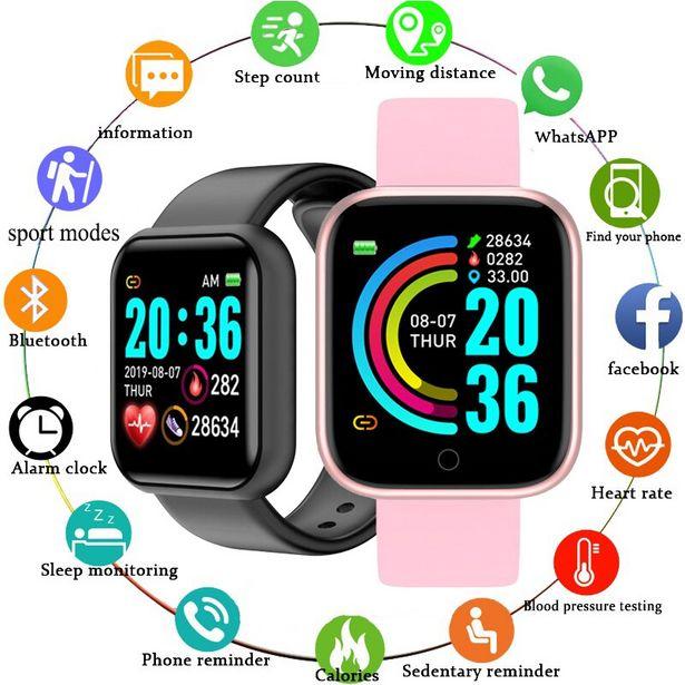 Oferta de Smart watch masculino e feminino com monitor de batimentos cardíacos e pressão por R$39,41