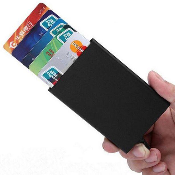 Oferta de Titular do cartão de crédito anti-roubo id titular do cartão de crédito porte carte fino metal de alumínio carteiras caso de bolso banco por R$22,17