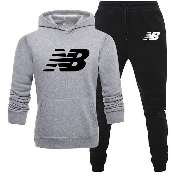 Oferta de 2 peças conjuntos de agasalho nb masculino com capuz moletom + calças pulôver hoodie sportwear terno ropa hombre roupas masculinas casuais por R$111,52