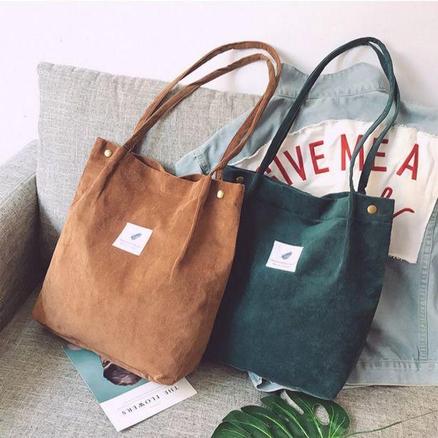 Oferta de Sacos para mulher 2021 veludo bolsa de ombro reutilizável sacos de compras casual bolsa feminina para um certo número de dropshipping por R$15,63